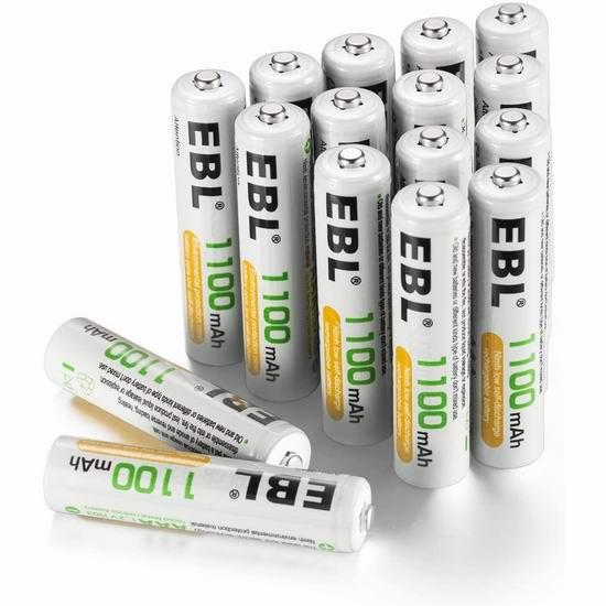 EBL 1100/2800mAh Ni-MH AA/AAA镍氢充电电池16只装 25.73-38.52加元!送电池盒!
