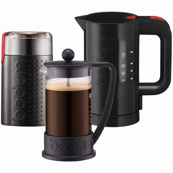 历史新低!Bodum Barista Bistro 法式压滤咖啡壶+电热水壶+磨咖啡机套装 72.1加元包邮!