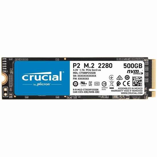 历史新低!Crucial 英睿达 P2 500GB 3D NAND NVMe PCIe M.2 SSD固态硬盘 70.99加元包邮!