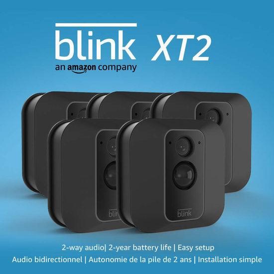 亚马逊 Blink XT2 室内/室外 家用安防智能摄像头 5摄像头套装 374.99加元包邮!