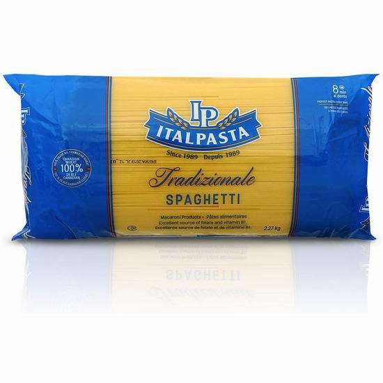 历史新低!Italpasta Spaghetti 意大利面条(2.27公斤) 2加元!2款可选!