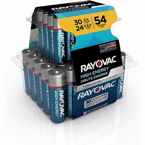 历史新低!Rayovac AA & AAA 碱性电池54件套 13.31加元!