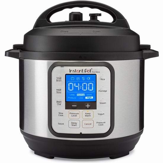 近史低价!Instant Pot 快煲 Duo Nova 3夸脱 7合一多功能电压力锅 98.97加元包邮!