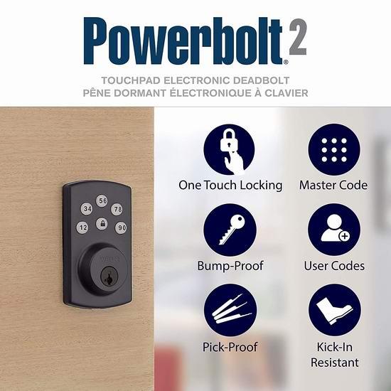 近史低价!Weiser Powerbolt 2.0 SmartKey 电子密码门锁4.9折 63.61加元包邮!