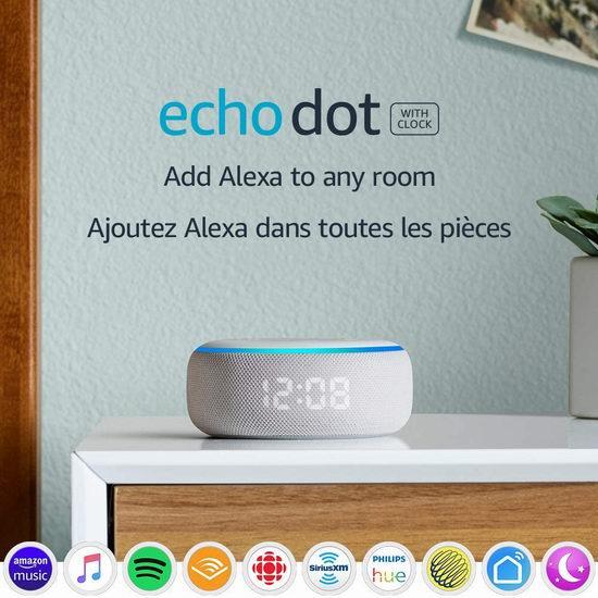 历史新低!Echo Dot 亚马逊第三代智能家居语音机器人 LED闹钟版 39.99加元包邮!