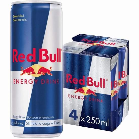 历史最低价!Red Bull 红牛能量饮料4罐×250毫升 6.62加元包邮!
