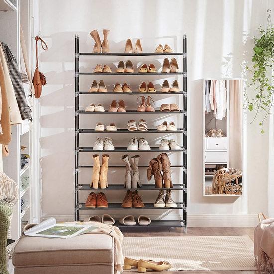 Songmics 10层1.75米超大容量鞋架 39.99加元包邮!