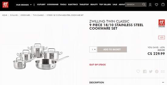 Zwilling 双立人 Twin Classic 不锈钢锅具9件套2.9折 179.99加元包邮!
