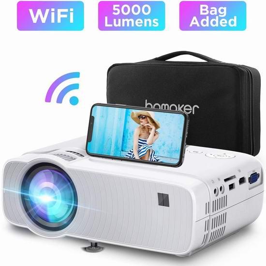 会员专享:历史新低!BOMAKER 5000流明 Wi-Fi无线 LED家庭影院投影仪 93.97加元包邮!送价值82.98加元投影幕布!支持WiFi直连手机、笔记本!