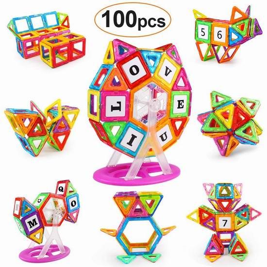KIDCHEER 益智磁力积木100件套 32.29加元限量特卖并包邮!