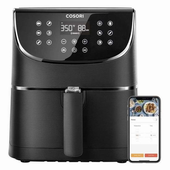 历史新低!COSORI 5.8夸脱大容量 智能WiFi空气炸锅 157.81加元包邮!
