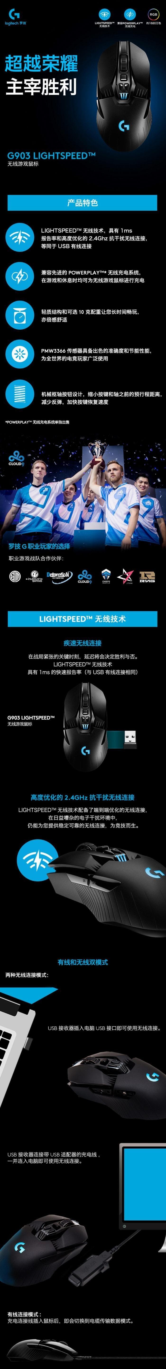 Logitech 罗技 G903 Lightspeed 无线游戏鼠标折 7.6折 129.99加元包邮!