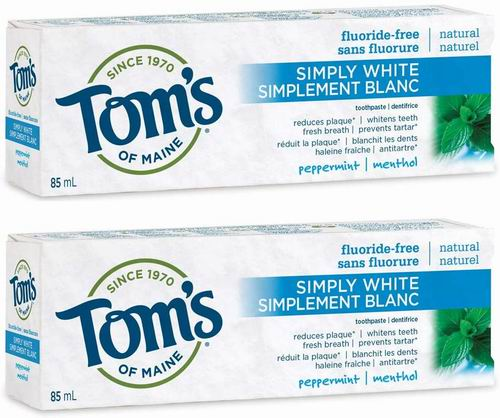 Tom's of Maine  薄荷味美白牙膏2 x 85毫升 4.99加元,原价 9.99加元
