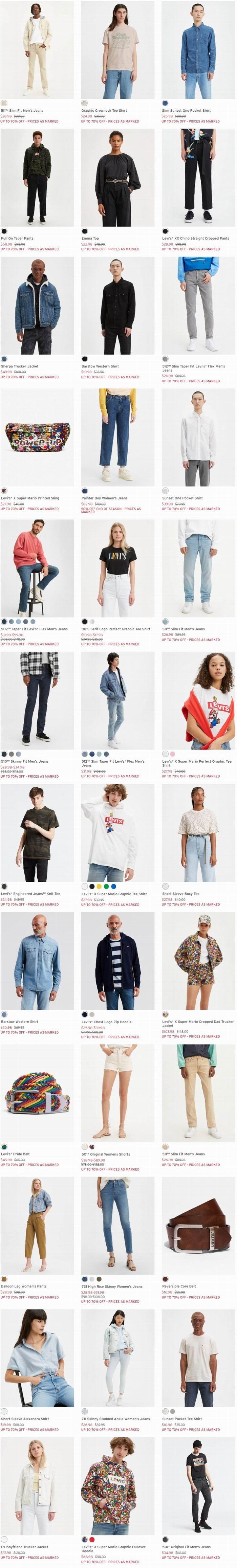 Levi's 李维斯官精选牛仔裤、牛仔服、T恤、卫衣等3折起+无门槛包邮!