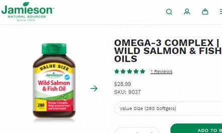 白菜价!历史新低!Jamieson 健美生 野生三文鱼油 Omega-3胶囊(280粒)超值装3.1折 9.02加元包邮!
