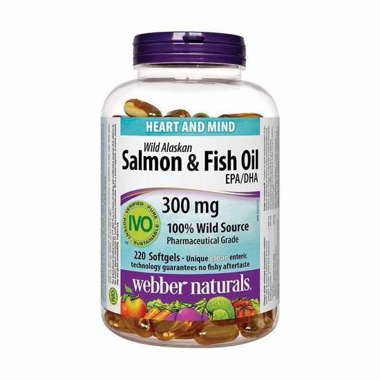 Webber Naturals Wild Alaskan Salmon 阿拉斯加野生深海鱼油(220粒) 12.32加元包邮!
