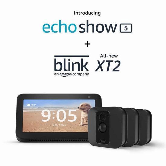 历史新低!新品 亚马逊 Blink XT2 室内/室外 家用安防智能摄像头3-5件套5.8折 249.99-374.99加元包邮+送价值99.99加元Echo Show 5智能显示器!