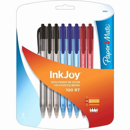 历史最低价!Paper Mate InkJoy 100 RT 彩色圆珠笔8件套 1.97加元清仓!