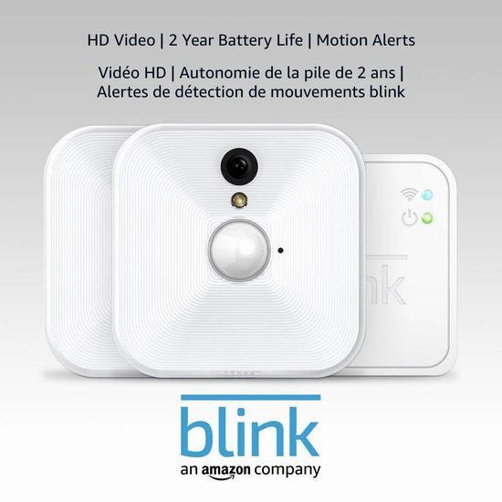 历史新低!Blink 家用室内 安防智能摄像头 1-5摄像头套装 69.99加元起包邮!2节电池续航2年!