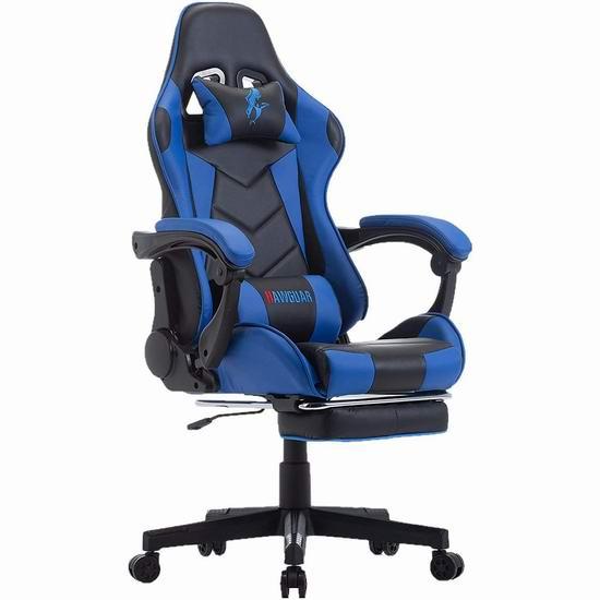HAWGUAR 人体工学 高靠背赛车办公椅/游戏椅 192.94-195.49加元限量特卖并包邮!2色可选!