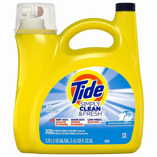 历史新低!Tide 汰渍 Simply Clean and Fresh 洗衣液3.78升装(89缸)5.8折 6.97加元!