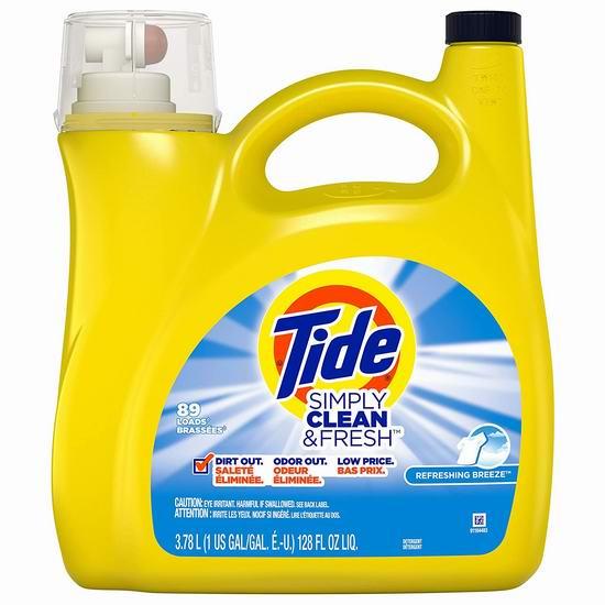 Tide 汰渍 Simply Clean and Fresh 洗衣液3.78升装(89缸) 8.54加元!