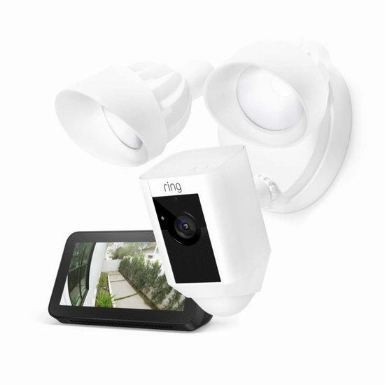 历史新低!Ring Floodlight Cam 超亮感应照明/双向语音/警笛 家庭安防摄像头6.1折 264.99加元包邮!送价值99.99加元Echo Show 5智能显示屏!2色可选!会员专享!