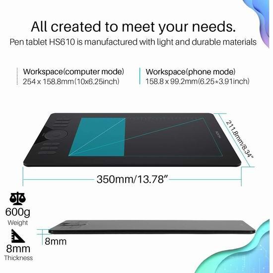Huion 绘王 HS610 8192级压感 大尺寸绘图平板 79.99加元限量特卖并包邮!