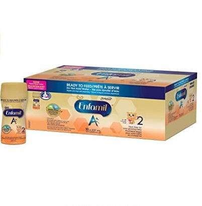 Enfamil A+ 1/2阶段 即开即用液体奶 237毫升×18瓶 49.99加元包邮!