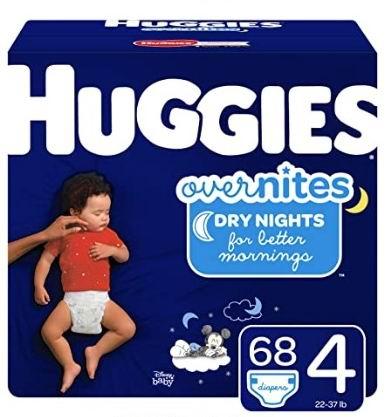 HUGGIES OverNites 婴幼儿纸尿裤 Size 4  18.98加元(会员价 15.98加元),原价 26.97加元