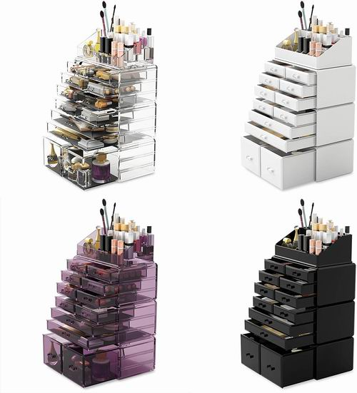 Readaeer 12抽屉 大容量 透明化妆品首饰收纳盒4件套 49.99加元(3色),原价 59.99加元,包邮
