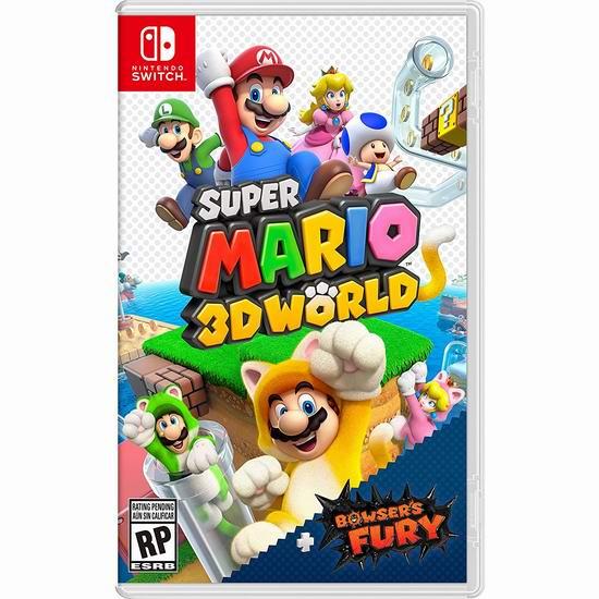 新品预售:《Super Mario 3D World + Bowser's Fury 超级马里奥 3D世界 + 狂怒世界》Switch版游戏 79.99加元包邮!