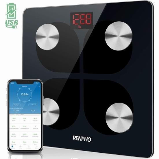 RENPHO 可充电 智能蓝牙无线 体脂/体重秤 34.98加元!