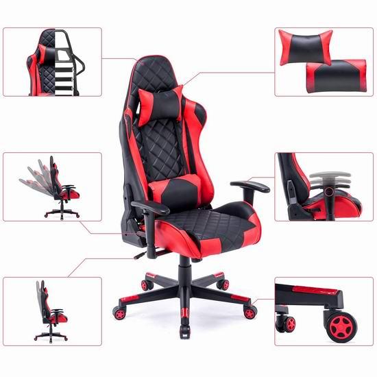 DJ·Wang 人体工学 高靠背赛车办公椅/游戏椅 189加元包邮!2色可选!