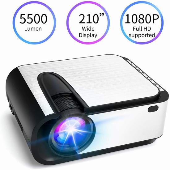 VANNECT 5500流明 720P 家庭影院投影仪 106.24加元限量特卖并包邮!