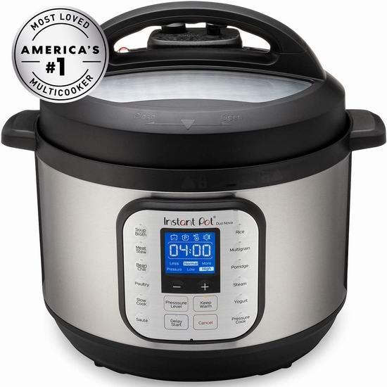 历史最低价!Instant Pot 快煲 Duo Nova 10夸脱超大容量 7合一多功能电压力锅 129.99加元包邮!