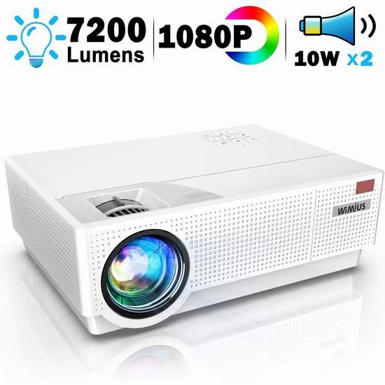 WiMiUS P28 1080P 7200流明 家庭影院投影仪 6.3折 209.49加元特卖并包邮!