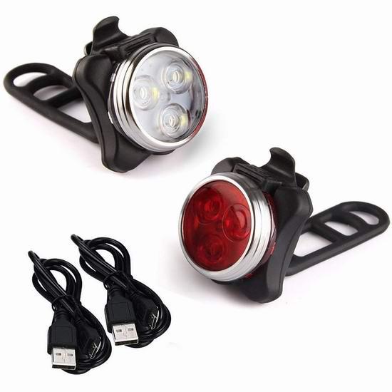 Arespark LE 可充电LED自行车前后照明灯 12.99加元!