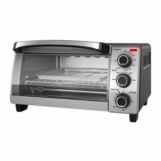 BLACK + DECKER TO1755SBC 4 Slice 热空气对流 电烤箱 39.98加元包邮!