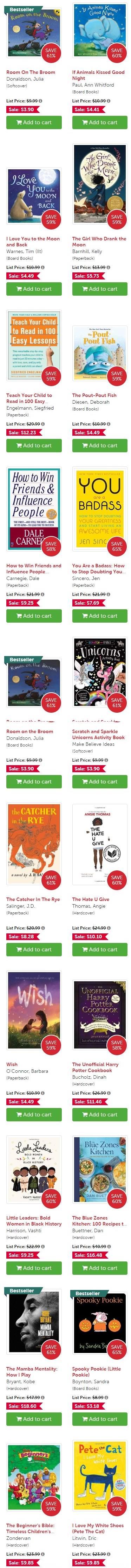 宅在家里读书吧!Book Outlet 成人儿童各类书籍1折起清仓+额外8.5折!