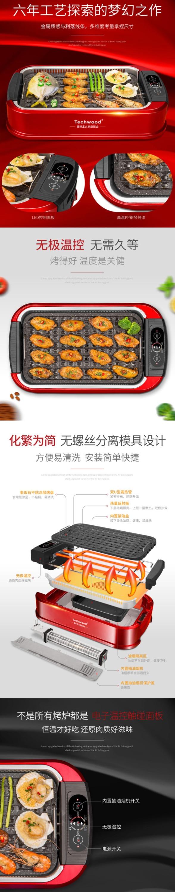 Techwood 1500W 升级版 家用无烟 麦饭石烤盘 电烧烤炉 140.98加元包邮!自带油烟过滤系统!