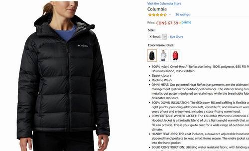 白菜价!Columbia 女士 650蓬松度羽绒服 67.39加元(xs码)+包邮