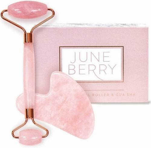 June Berry 玫瑰玉石滚轮脸部按摩器套装 14.95加元(原价 24.99加元),促进血液循环,减少脸部水肿