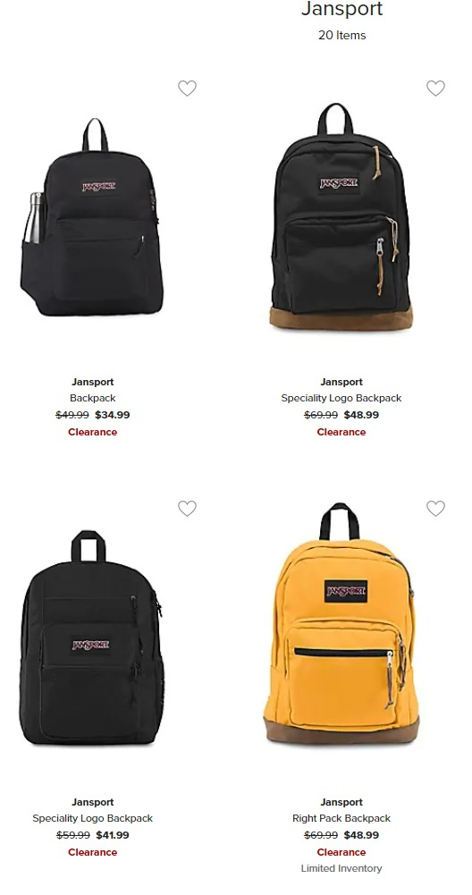 JanSport  时尚双肩包 7折 31.49加元起特卖