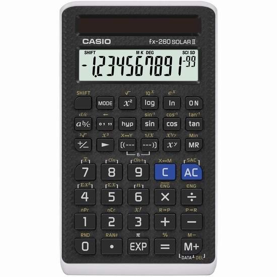 Casio 卡西欧 FX-260 SOLAR II 科学计算器 7.59加元!