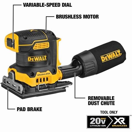历史新低!DEWALT 得伟 DCW200B 20V MAX 无绳 无刷电磨砂光机6.4折 109加元包邮!