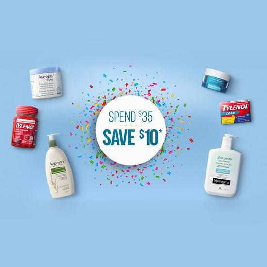 精选 Neutrogena、Aveeno、Tylenol、Band-Aid、Polysporin、Tena 等品牌保湿护肤品、洗浴用品、婴幼儿用品、感冒药、创可贴、漱口水等特价销售,满35加元额外再减10加元+包邮!