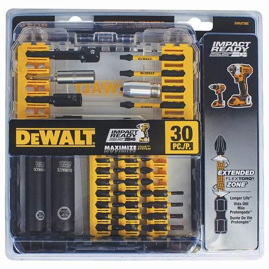 历史最低价!DEWALT 得伟 DWA2T30C Flex Torq 电钻批头30件套 19.99加元!