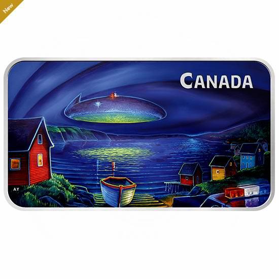 手慢无!新品 加拿大无法解释的现象 克拉伦维尔UFO事件 1盎司纯银 矩形夜光纪念币 129.95加元包邮!
