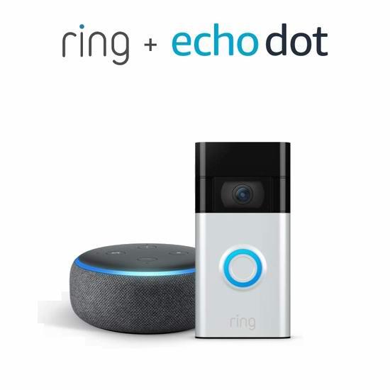 必抢单品:历史新低!升级版 All-new Ring 1080P 第二代可视智能门铃4.7折 94.99加元包邮!送Echo Dot智能音箱!2色可选!会员专享!